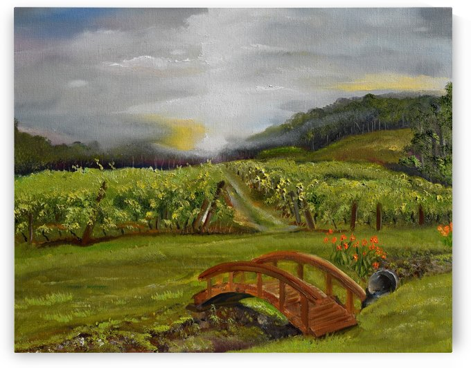 Sunshine Bridge at Cartecay Vineyard by Jan Kornegay Dappen