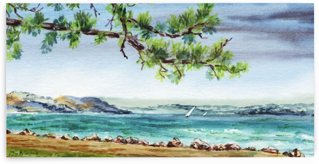 Sea Shore Beach House View Watercolor by Irina Sztukowski