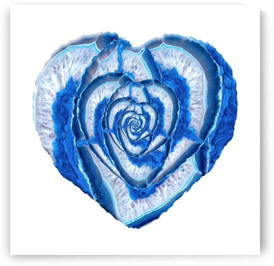 Blue Agate Geode Crystal Heart by Art Design Works
