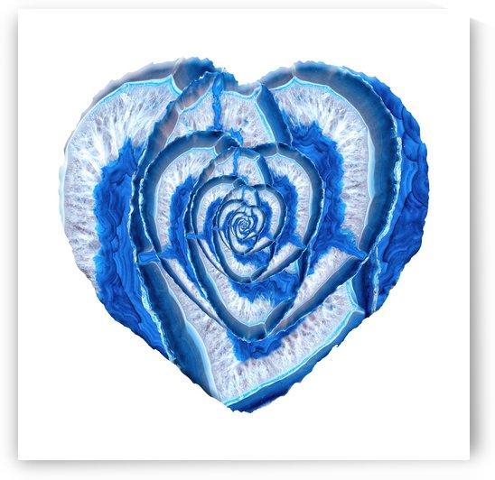 Blue Agate Geode Crystal Heart by Art Design Works