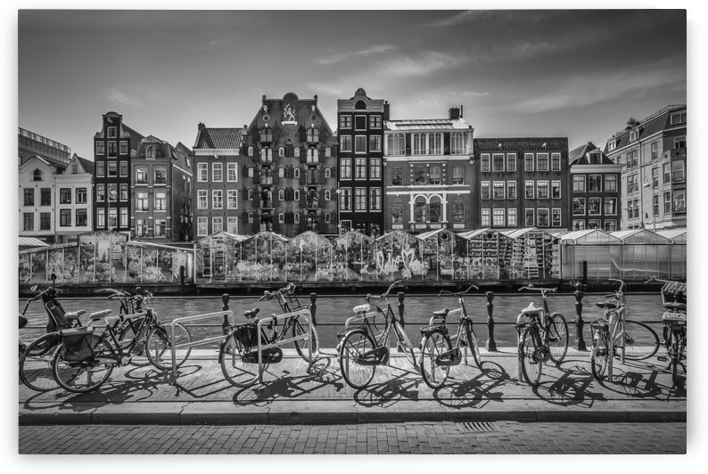 AMSTERDAM Singel Canal with Flower Market   monochrome by Melanie Viola