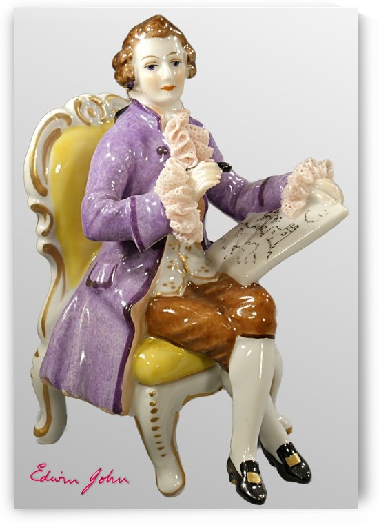 Gentleman Sketching from a time gone bye.  Porcelain figure  by Edwin John