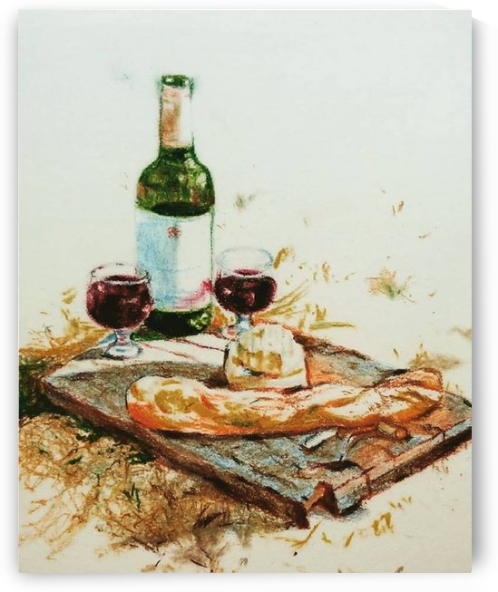 Wine Cheese and Baguette by Rutuja Padwal