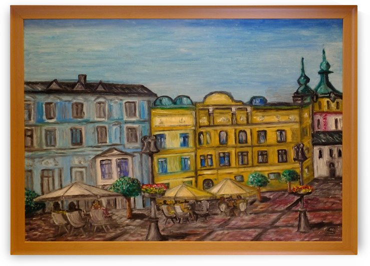 Banska Bystrica City Square Central Slovak Republic oil painting by Tomas Strelinger by Edwin John
