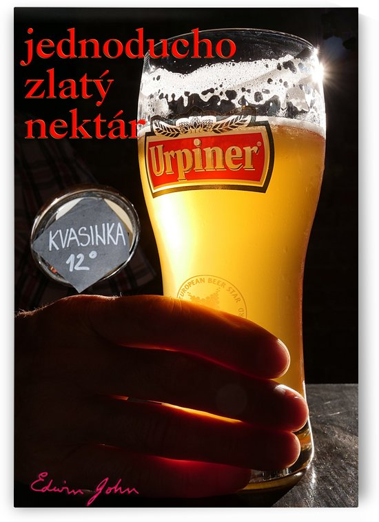 Slovak Text Simply Golden Nectar Urpiner Beer brewed in Banska Bystrica by Edwin John