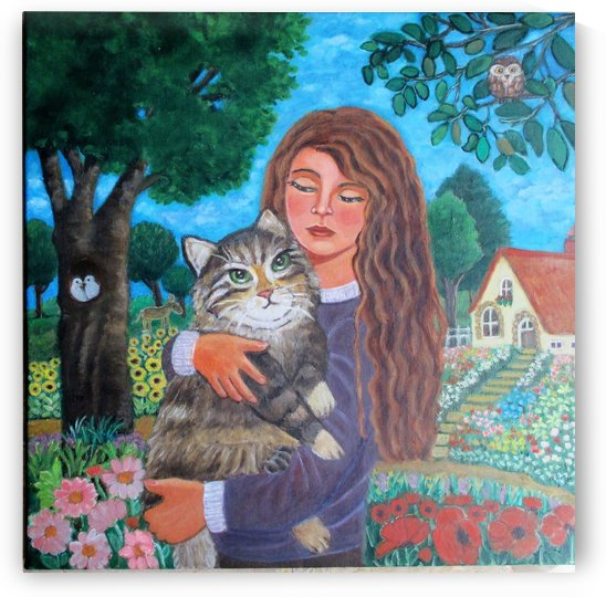 girl with cat by Gloria Gill