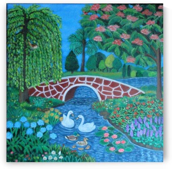 bridge and lake by Gloria Gill