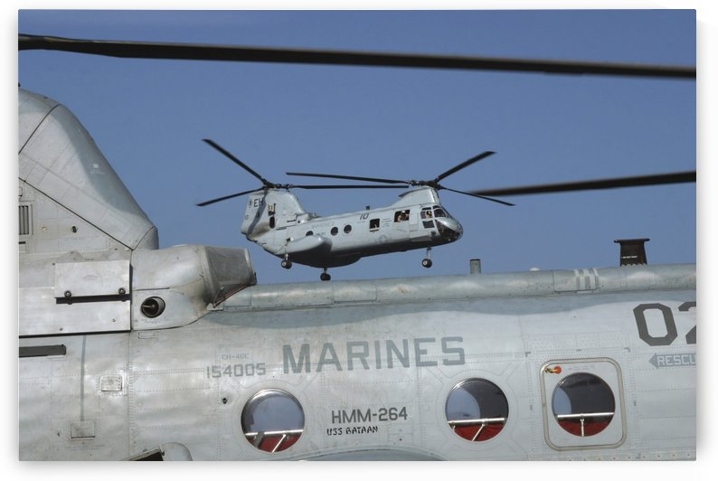 U.S. Marine Corps CH-46 Sea Knight helicopters. by StocktrekImages