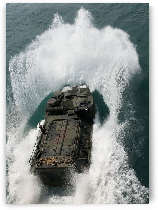 U.S. Marines drive an assault amphibious vehicle in the Pacific Ocean. by StocktrekImages