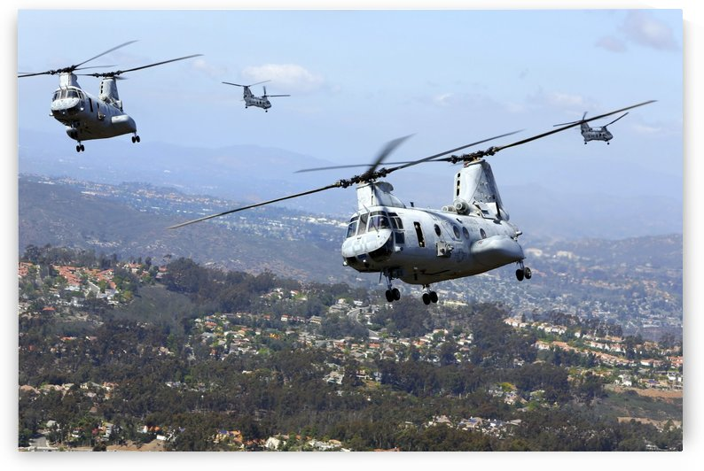 CH-46E Sea Knight helicopters fly over San Diego California. by StocktrekImages