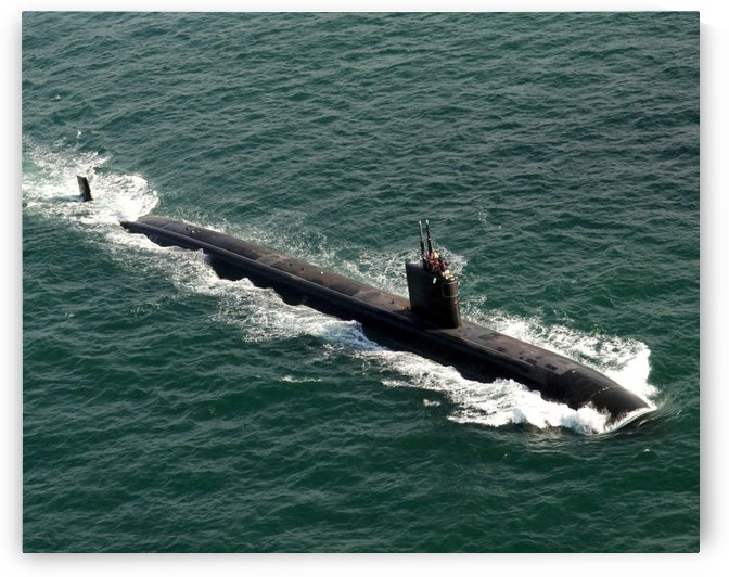 The Los Angeles-class fast attack submarine USS Asheville. by StocktrekImages