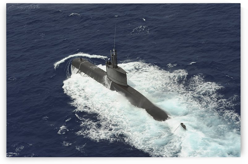Republic of Korea submarine ROKS Lee Eokgi transits on the surface in Pearl Harbor Hawaii. by StocktrekImages