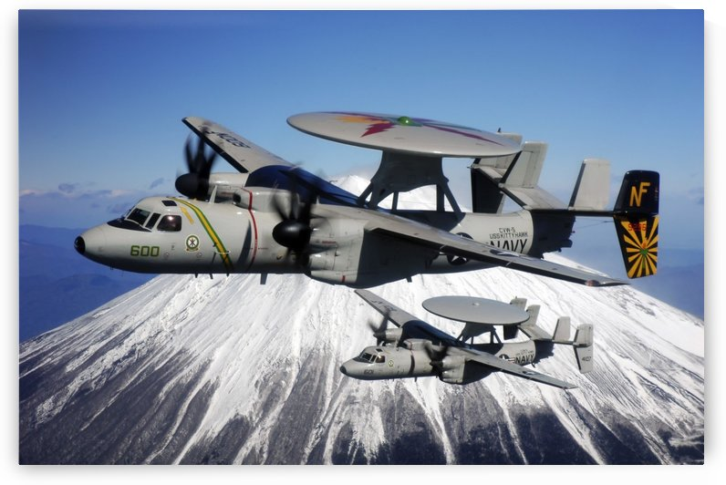 Two E-2C Hawkeyes conduct a flyby of Mount Fuji in Japan. by StocktrekImages