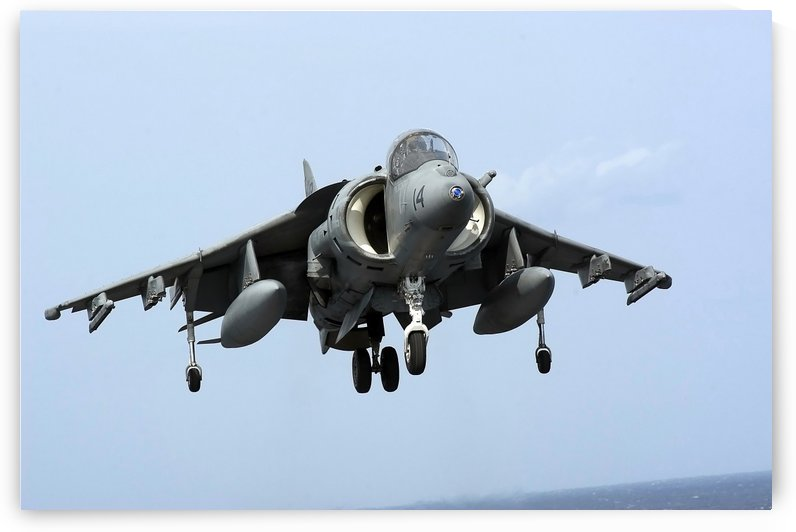 An AV-8B Harrier II+ prepares for landing. by StocktrekImages