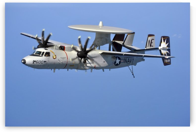 An E-2C Hawkeye in flight over the Arabian Sea. by StocktrekImages
