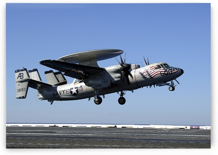 An E-2C Hawkeye conducts a touch-and-go landing aboard USS Enterprise. by StocktrekImages