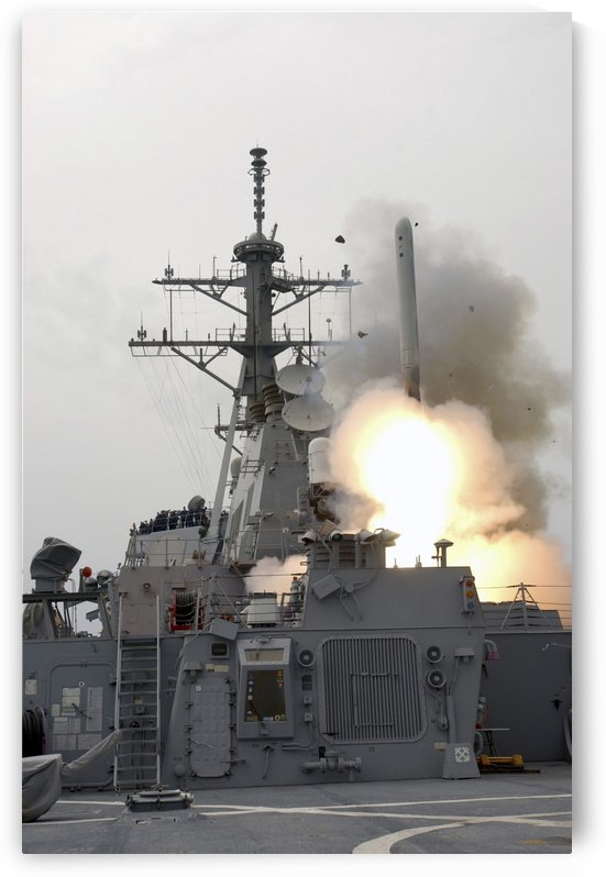 A tomahawk missile launch aboard USS Milius. by StocktrekImages