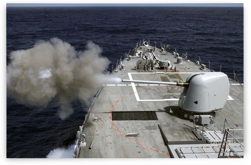 Pre-Action Calibration fire from the forward 5 Mk 54 gun aboard USS Donald Cook. by StocktrekImages