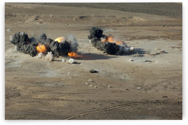 Hard target penetrating bombs explode at the Gordia range off the coast of Djibouti. by StocktrekImages