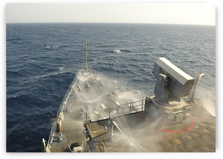 The countermeasure wash down sprinkler system aboard USS Gunston Hall. by StocktrekImages