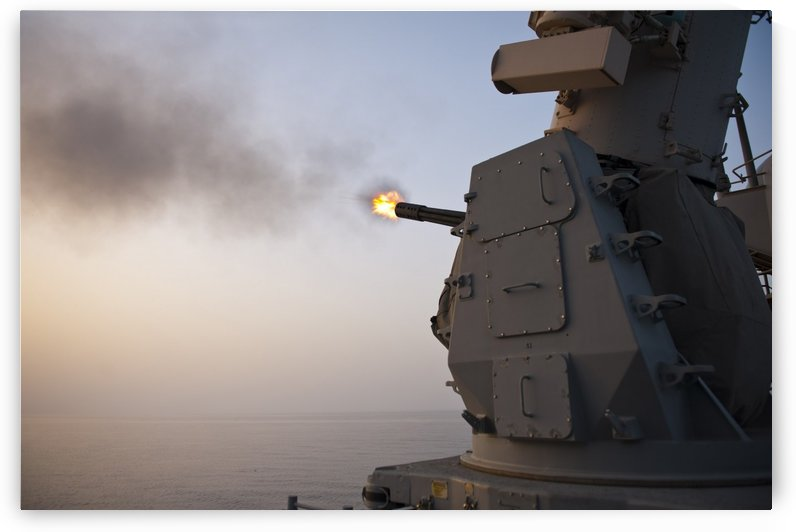 An MK-15 Close-In Weapon System is fired aboard USS Cape St. George. by StocktrekImages