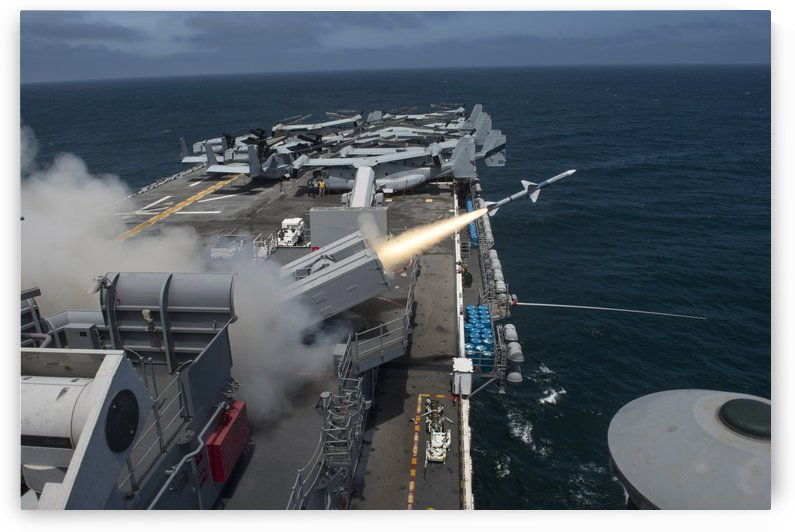A RIM-7 Sea Sparrow missile is launched from USS Boxer. by StocktrekImages