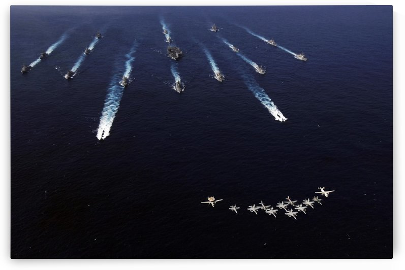 U.S. Navy aircraft fly over a formation of U.S. and Japanese ships. by StocktrekImages
