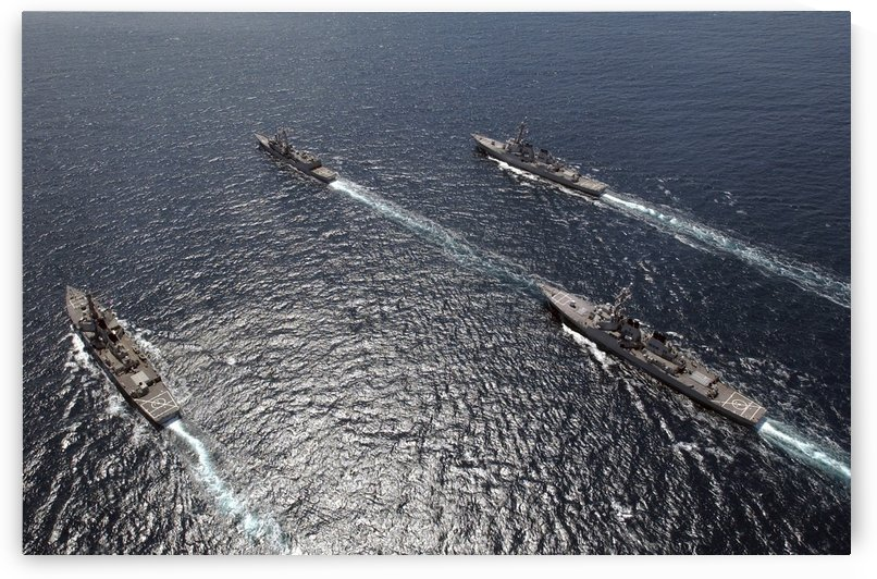 Ships assemble in formation off the coast of San Diego California. by StocktrekImages