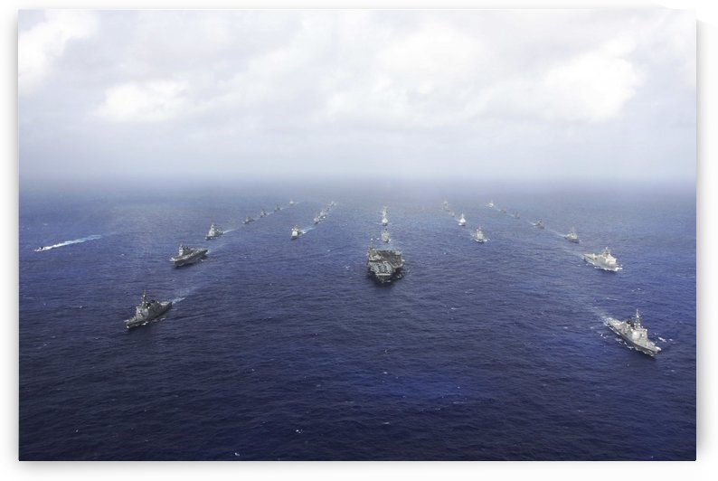 A fleet of U.S. Navy and Japan Maritime Self-Defense Force ships transit the Pacific Ocean. by StocktrekImages