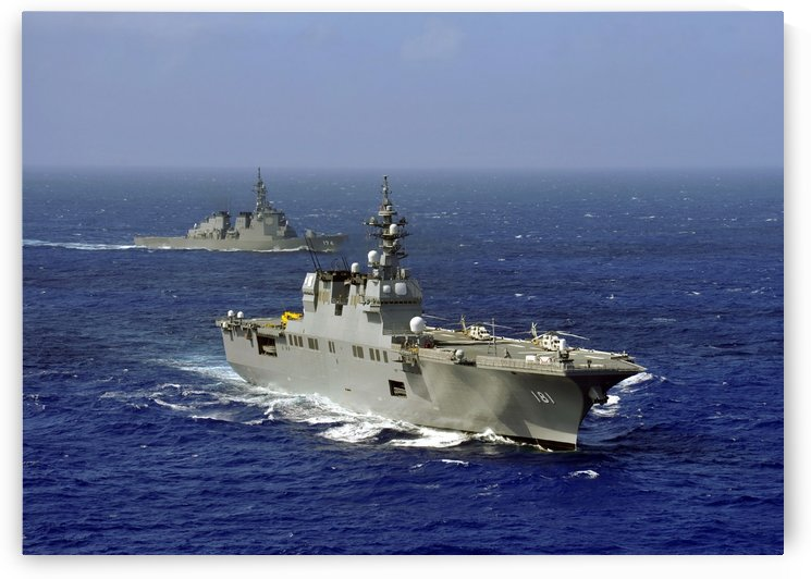 JDS Hyuga sails in formation with U.S. Navy and Japan Maritime Self Defense Force ships. by StocktrekImages