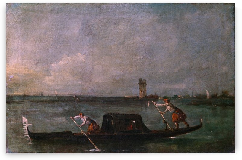 A Gondola on the Lagoon near Mestre by Francesco Guardi