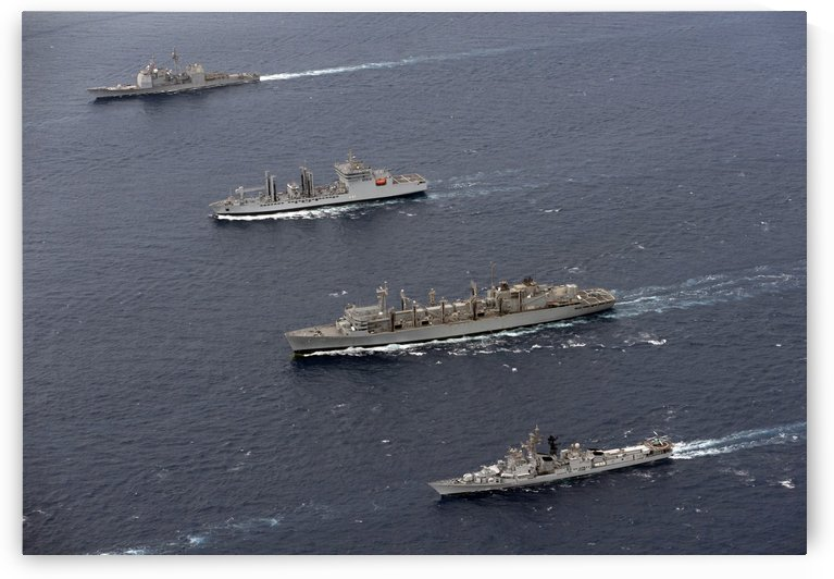 USS Bunker Hill INS Shakti USNS Bridge and INS Ranvir transit in formation. by StocktrekImages