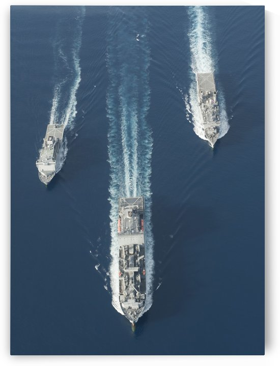 USNS Matthew Perry USS Pearl Harbor and HMNZS Canterbury transit the Vella Gulf. by StocktrekImages