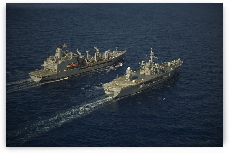 USNS Leroy Grumman conducts a replenishment at sea with USS Mount Whitney. by StocktrekImages