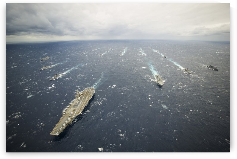 The George Washington Strike Group and Japan Maritime Self-Defense Force ships. by StocktrekImages