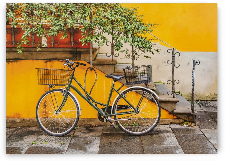 Bicycle Parked at Wall in Lucca City Italy by Daniel Ferreia Leites Ciccarino