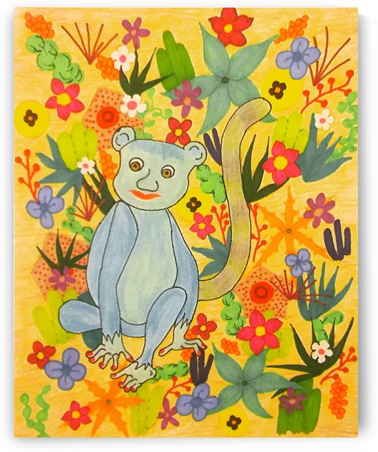 Blue Lemur Caught in the Flowers of Madagascar by SarahJo Hawes