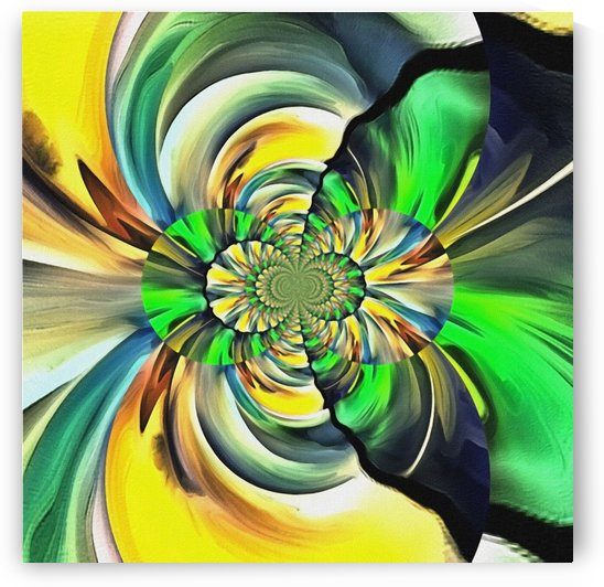 Mirrored green - yellow fractal by Bruce Rolff