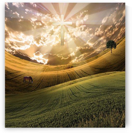 Cross radiates light in sky by Bruce Rolff