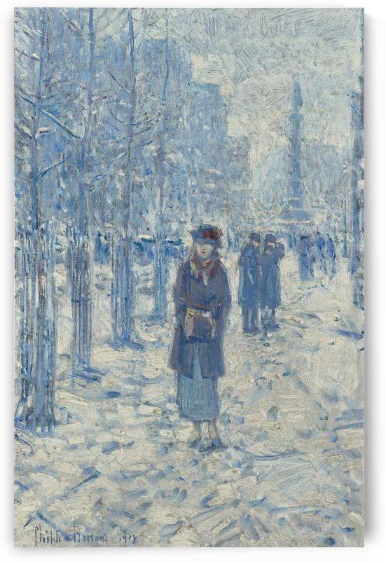 Kitty Walking in Snow by Frederick Childe Hassam