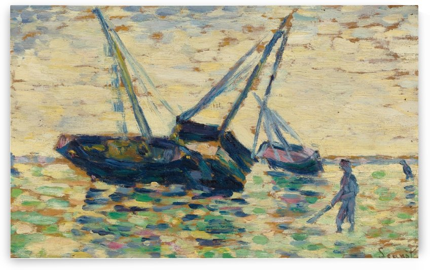 Three Boats at the Sea by Georges Seurat
