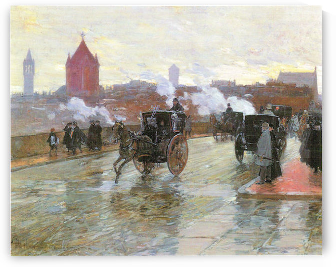 Clearing Sunset (Berkeley Street and Columbus Avenue) by Hassam by Hassam