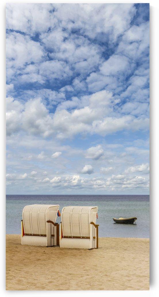 Idyllic Baltic Sea with typical beach chairs by Melanie Viola