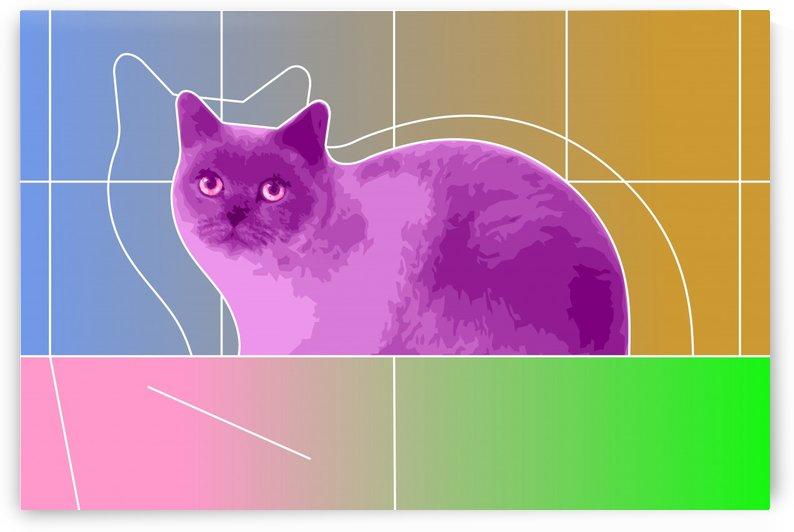 Neon Purple Cat on Geometric Background by zelko radic bfvrp