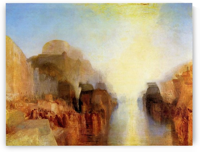 Harbor with town and fortress by Joseph Mallord Turner by Joseph Mallord Turner