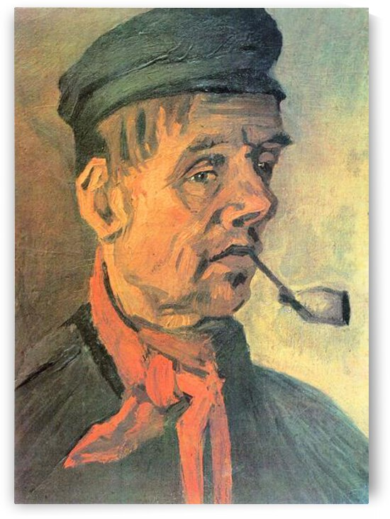 Head of a farmer with a clay pipe by Van Gogh by Van Gogh