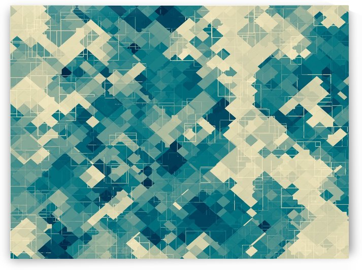 blue geometric square pixel pattern abstract background by TimmyLA