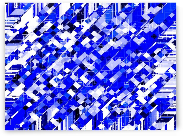 geometric square pixel pattern abstract background in blue by TimmyLA