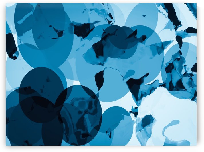 circle pattern abstract with blue splash painting background by TimmyLA