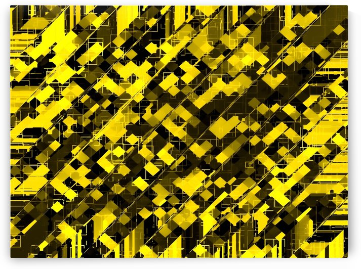 geometric square pixel pattern abstract background in yellow and black by TimmyLA